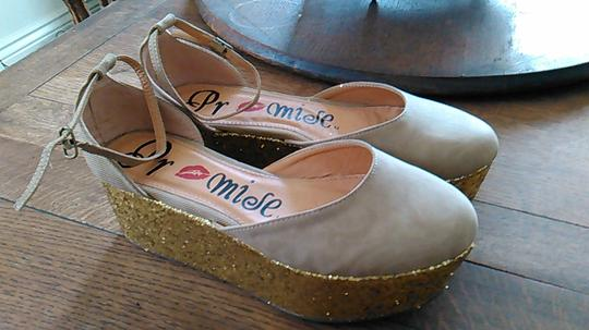 Other Funky Tan canvas with gold glitter heel Platforms