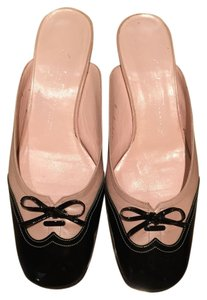 Salvatore Ferragamo Pink leather with Black Patent Cap Toe Mules