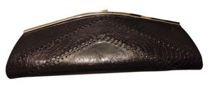 Bakers Faux Leather Faux Snakeskin Faux Leather Stitches Silver Metal Closure Zipper Pocket Inside Faux Leather Trimmed Pockets Black Clutch