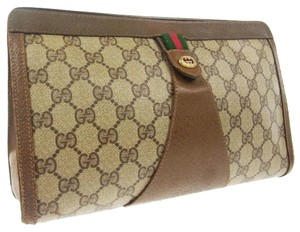 Gucci Red Green Brown Pvc Brown, Red, Green, Beige Clutch