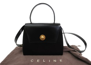 Céline Cline Hand Leather Satchel in Black