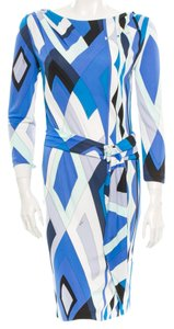 Emilio Pucci White Print Longsleeve Logo Monogram Dress