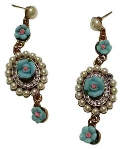 Other New Long Dangle Flower Pearl Earrings Blue Pink White J1105