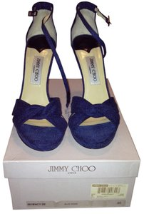 Jimmy Choo Denim Stiletto Box Dust Bag Ankle Straps Blue Sandals