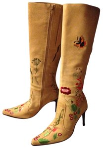 N.Y.L.A. Stilettos Knee High Cream suede floral embroidered Boots