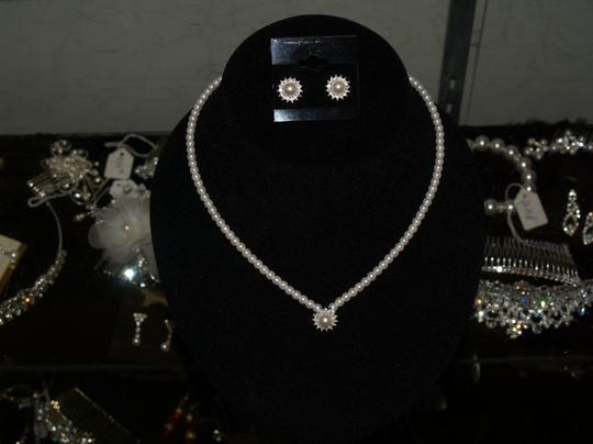 Preload https://item1.tradesy.com/images/whitesilver-of-pearls-and-rhinestones-earrings-se-necklace-46850-0-0.jpg?width=440&height=440