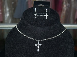 Austrian Crystals Cross Necklace & Matching Earrin