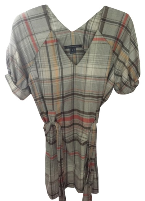 French Connection short dress Grey/yellow plaid on Tradesy