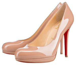 Christian Louboutin Nude Tan Patent Patent Leather Stiletto Round Toe Platform New Simple New Simple Beige Pumps