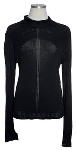 Elie Tahari Sheer Ribbed Knit Long Sleeve Sweater