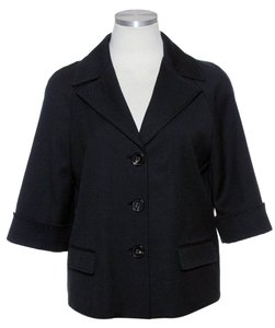 Elie Tahari Wool Blend Raglan Black Jacket