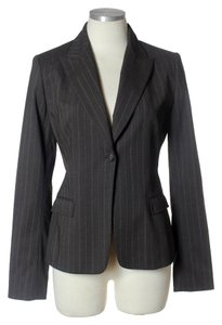 Elie Tahari Wool Blend Pinstriped Brown Blazer