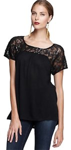 Ella Moss Metallic Lace Top Black