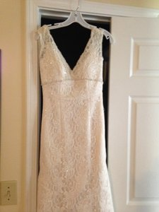 David's Bridal T9612- All Over Lace Trumpet Gown Wedding Dress