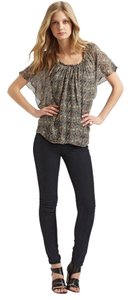 Ella Moss Papillon Printed Silk Chiffon Top Gray Multi