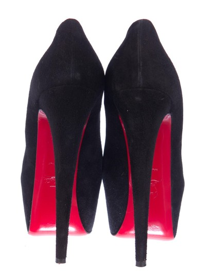 Christian Louboutin Suede Leather Daffodile Platform Black Pumps