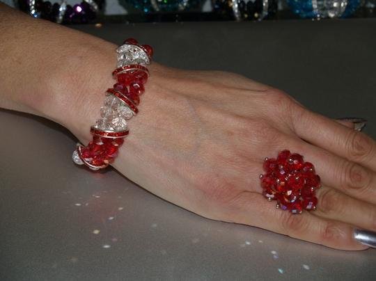 Red/clear/silver Bracelet & Matching Ring Set Rb04