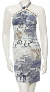 Roberto Cavalli Blue White Halter Print Animal Print Gold Hardware Dress