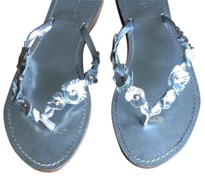 J.Crew Metallic Silver Leather Sandals