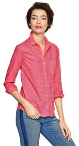 Gap Boyfriend Swiss Dot Tailored Spring Button Down Shirt Coral Pink