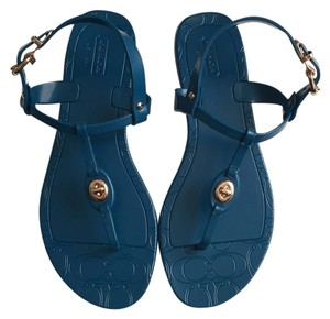 Coach Pier Shiny Jelly Teal Sandals
