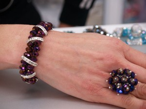 Iridescent Eggplant Bracelet & Matching Ring Set