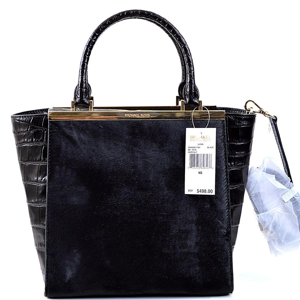 a945a3223ddd Michael Kors Lana Medium Tote (B3077d) Black Croc Embossed Leather /  Haircalf Satchel - Tradesy