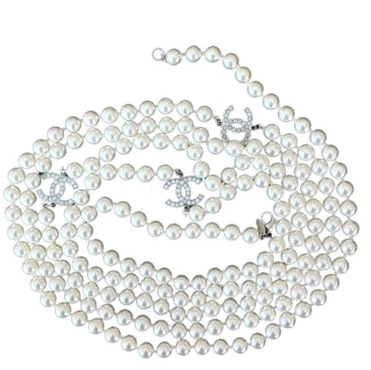 Chanel XLong CHANEL Faux Pearl Necklace w/ 3 CC Logo Stations - 2010