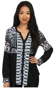 Hale Bob Top Black Geometric Turquoise White