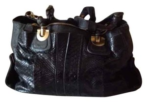 Chloe Python/Leather Handbag Black Satchel with Gold Hardwear Shoulder Bag