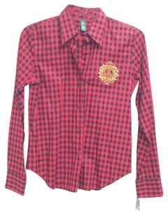 Lauren Ralph Lauren Black Red Classic Preppy Festive Fall Summer Spring Winter Christmas Holiday Gift Gingham Checkered Embellished Rl Button Down Shirt Red/black