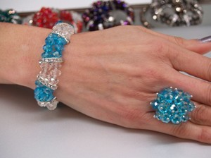 Turquoise Blue/clear Bracelet & Ring Set Br08