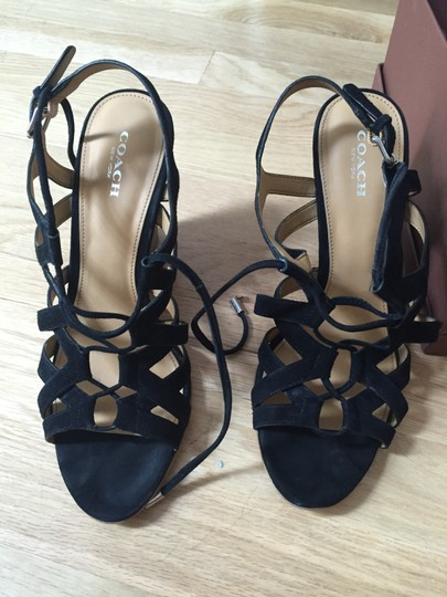 Coach Black Suede with tan bottom Wedges