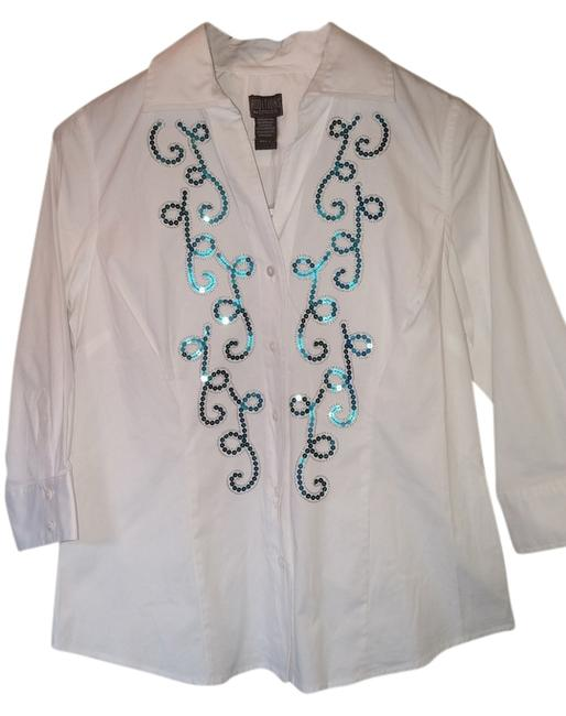 Chico's Sequin Button Down Shirt White with blue and silver embellishments