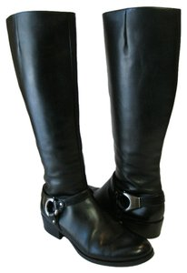 Via Spiga Leather Knee High Riding Black Boots