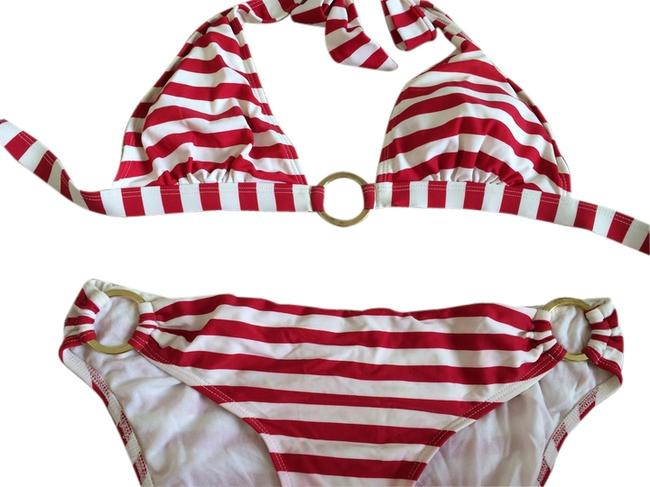 Jessica Simpson Striped red bikini with gold rings