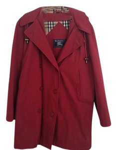 Burberry Detachable Hood Plaid Lining Coat