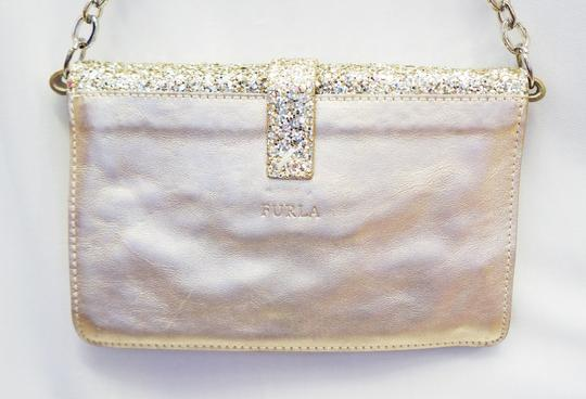 Furla New Glitter Leather Envelope Clutch Chain Hand Purse Evening Shoulder Bag