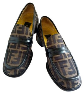 Fendi Loafers Penny Zucca Print Vintage Tobacco Canvas & Brown Leather Flats