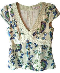 Nanette Lepore Silk Summer Top Blue Green