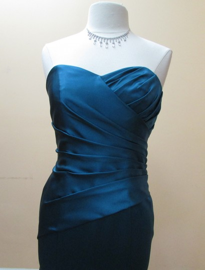 Alfred Angelo Tealness Satin 7168 Formal Bridesmaid/Mob Dress Size 10 (M)