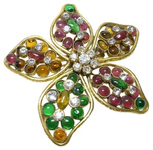 Chanel Authentic Chanel Vintage Multicolor Gripoix Ultra Rare Flower Brooch Pin