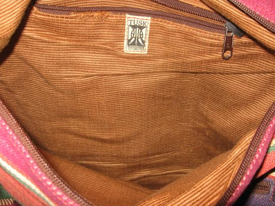 Other Brown Leather Red Blue Green Striped Orange Purse Messenger Cross Body Bag