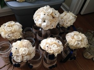 Ivory Sola Flower Bouquets 5 + Bridal