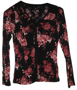 Apt. 9 Womens Multicolored Flower Soft Stretchy Rayon Shirt Small Petite New Top Black & Pink