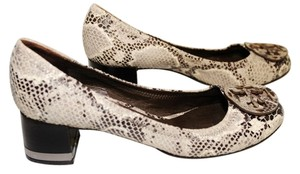"""Tory Burch Low Caroline Snakeskin Python Logo Luxe Size 6 1/2 Wide Width Rounded Toe Medium Width Low Heal 2"""" Heal Good Black, White, Grey and Silver Pumps"""