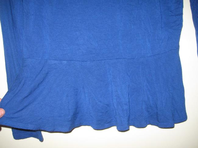 Sunny Leigh Womens Royal Peplum Long Sleeve Soft Stretchy Shirt Large Top Blue