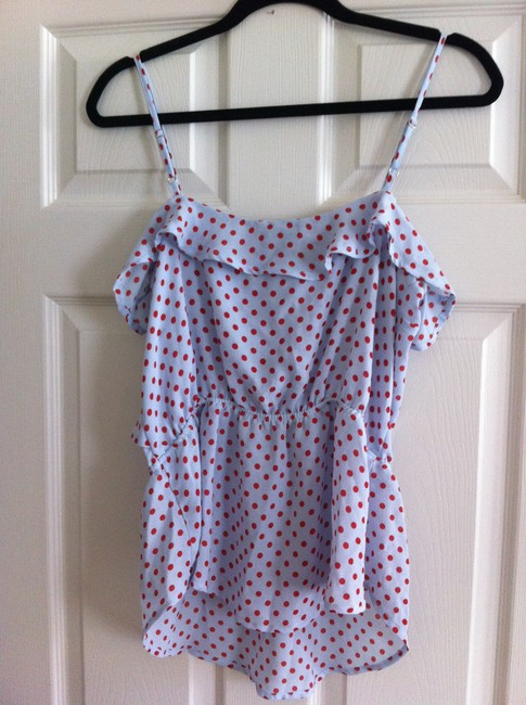 Patterson J. Kincaid Top blue with red polka dots