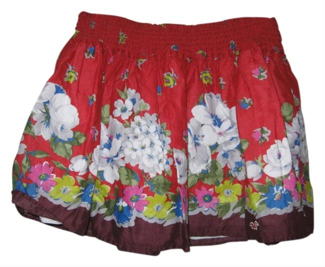 Hollister Womens Multicolored Flower Printed Small New Skirt Red