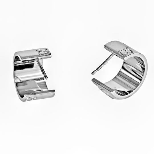 Gucci Gucci 18K White Wide Icon Huggie Earring